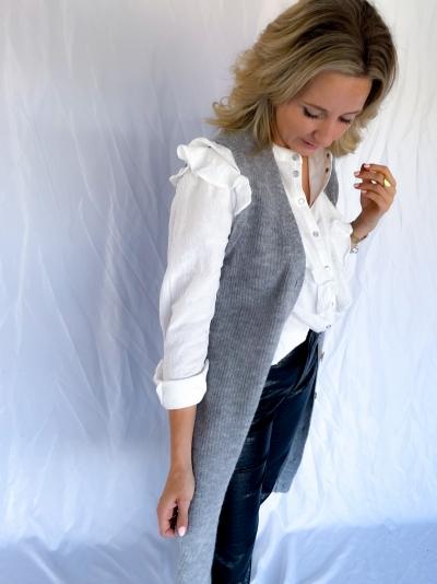 Sabella Alpaca Long vest grey melange