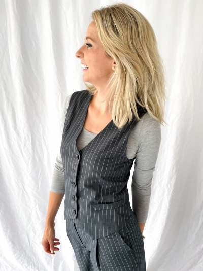 Pinstripe Waistcoat grey pinstripe
