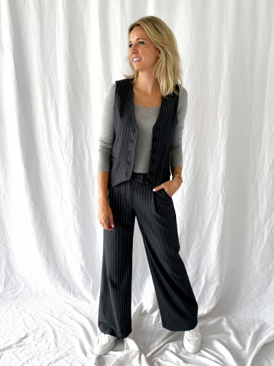 Pinstripe Suit trousers logo