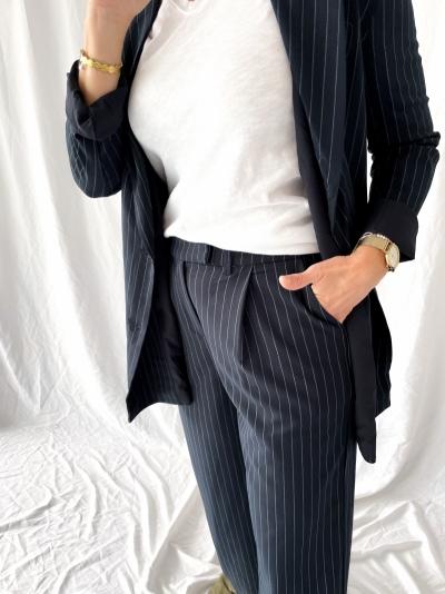 Pinstripe Suit trousers navy pinstripe