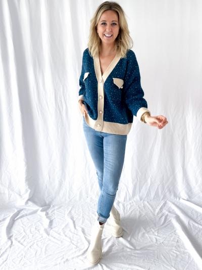 Oversized knit Cardigan blue