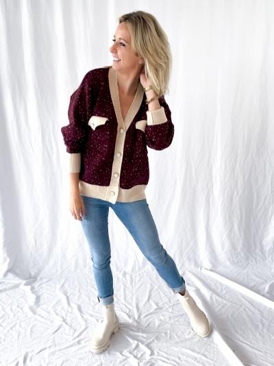 Oversized knit Cardigan burgundy