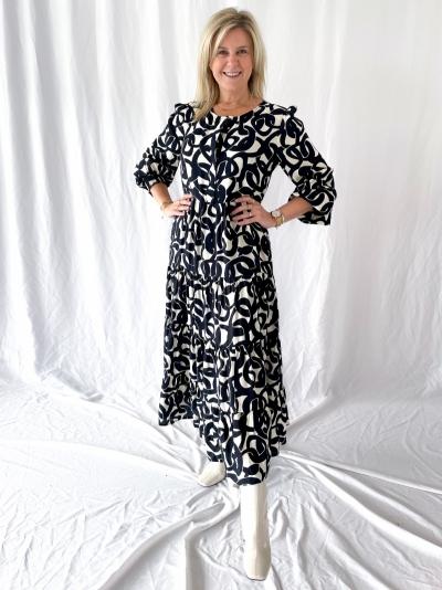 Chain midi dress black&white