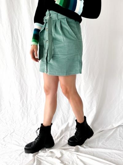 Debby ribfluweel rok vert