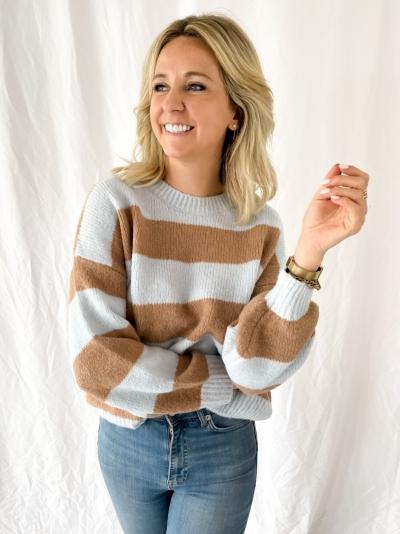 Striped knit bleu