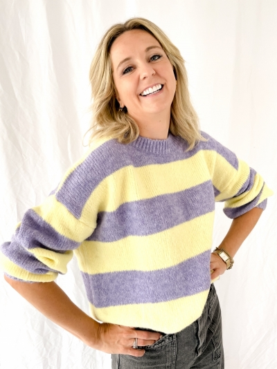 Striped knit violet