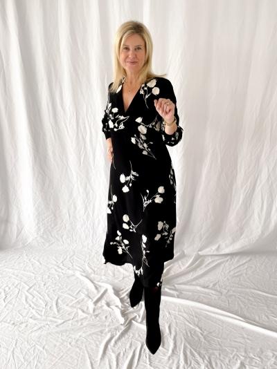 Robe black fleur noir