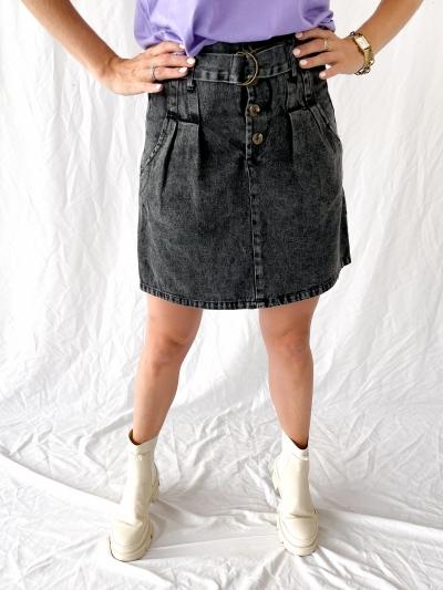 High waist jeans skirt gris