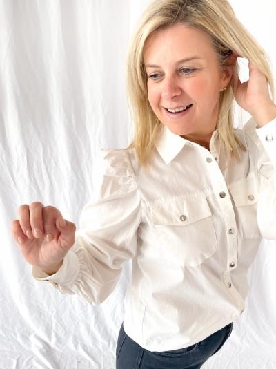 Puff sleeve shirt white