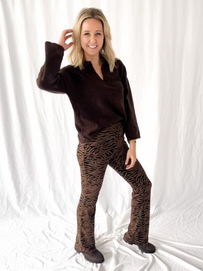 Ming pants pecan zebra