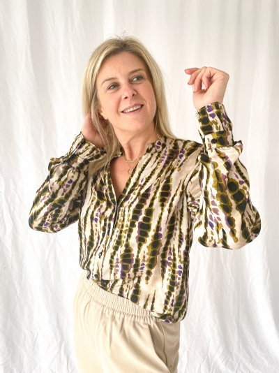 Sanija blouse olive dessin