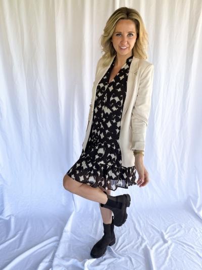 Alyssa Button dress mocca