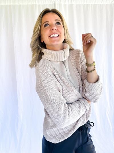 Dara knitted pull beige melee