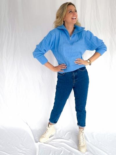 Alpha zipper pullover little boy blue