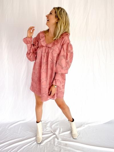 Jacquard Floral mini dress peach