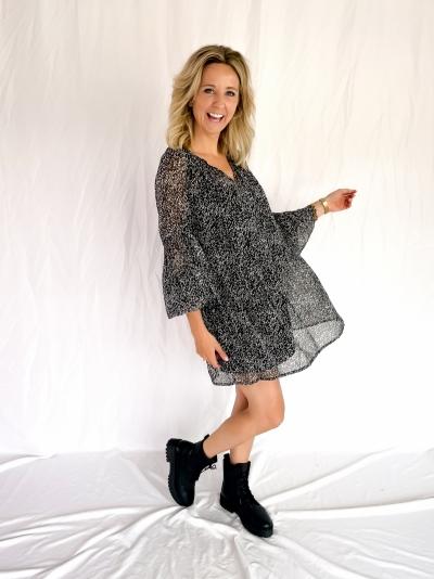 Mini sheer dress black and white