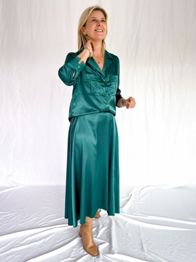 Satin blouse smaragd green