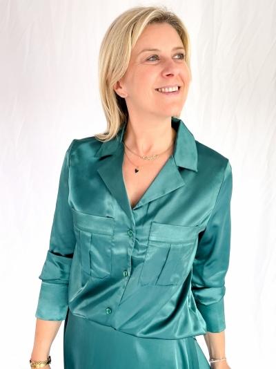 Satin blouse logo