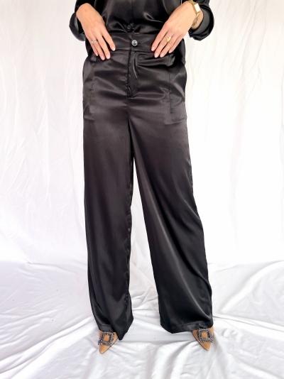 Satin high waist pants black