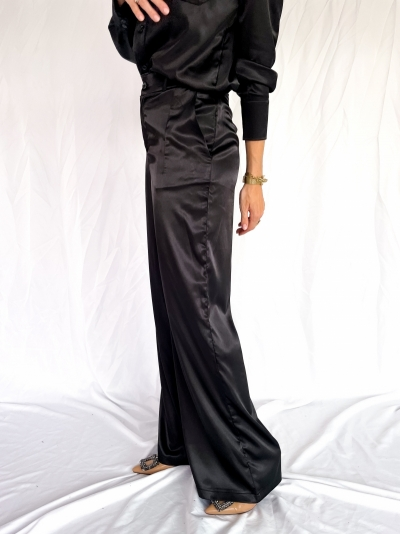 Satin high waist pants logo