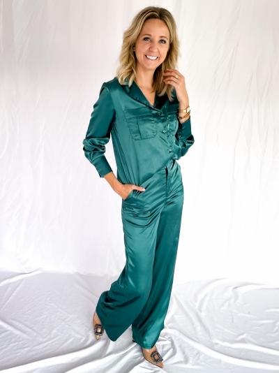 Satin high waist pants smaragd green