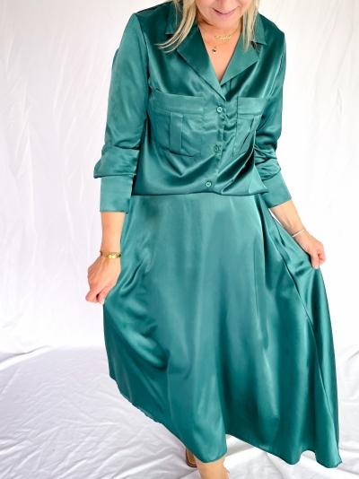 Satin skirt smaragd green