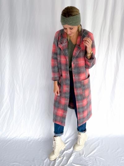 Saso Coat rose/grey check
