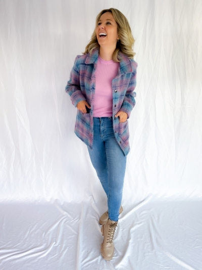 Viksa brushed jacket blue/rose