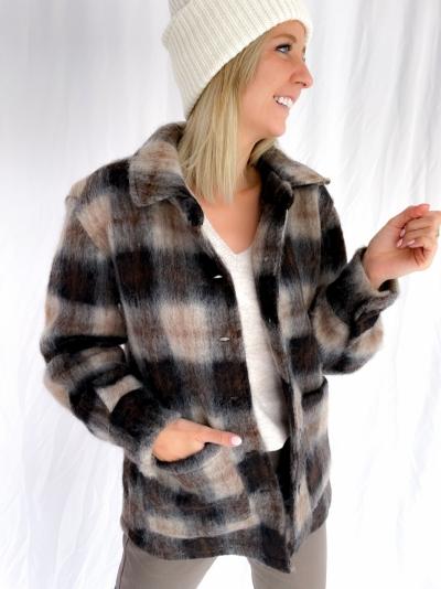 Viksa brushed jacket black/brown