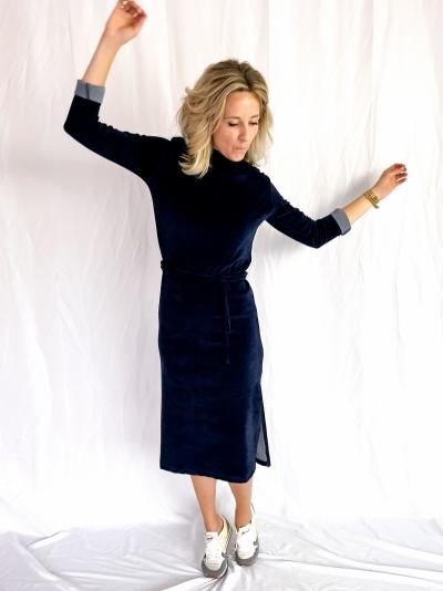 Velvet dress blauw