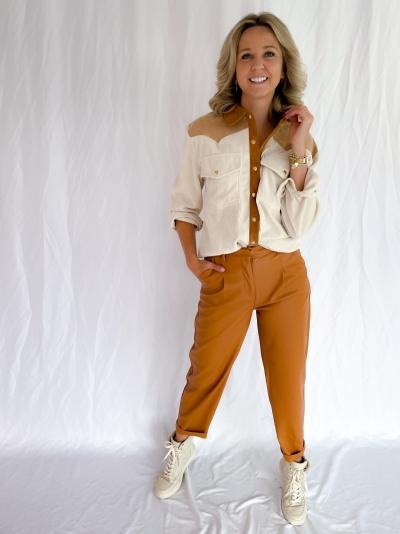 Delfine faux leather pants logo