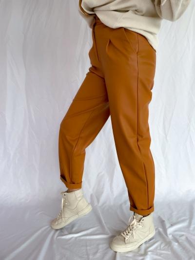 Delfine faux leather pants pecan brown