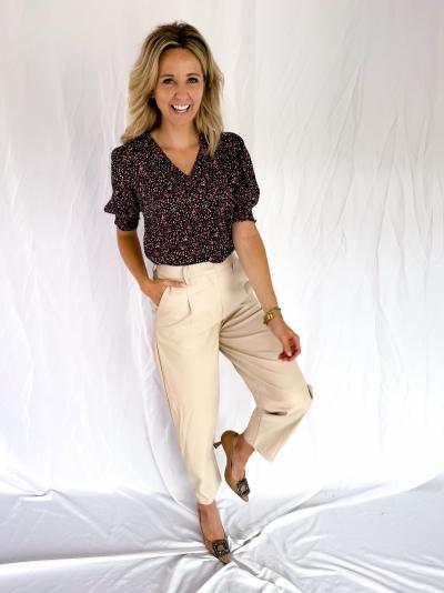 Delfine faux leather pants beige