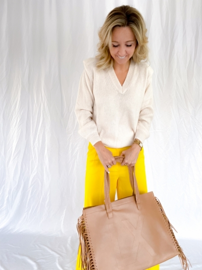 Faux Leather shopper warm camel