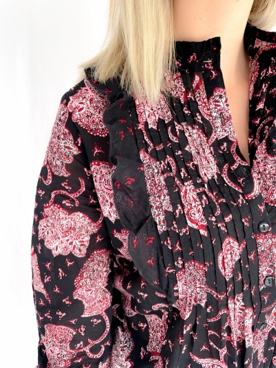 Woven Flower Paisley scarlet red