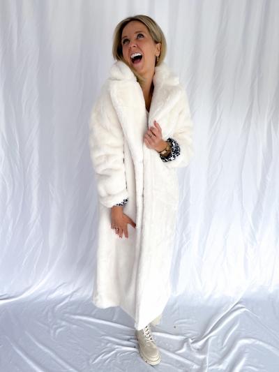 Casablanca fake fur coat logo