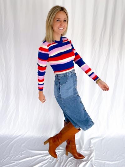 Minno Lurex Minnie knit blue red lurex