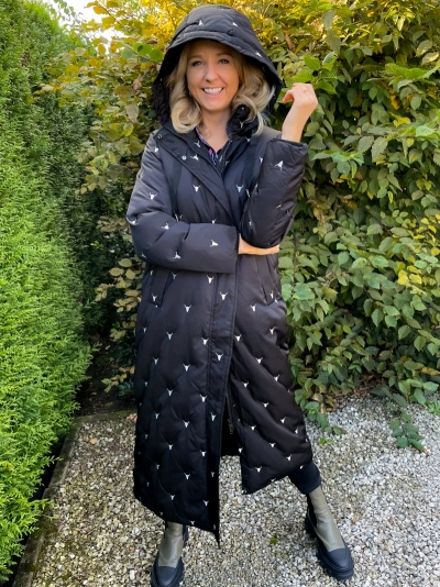 Woven puffer coat black